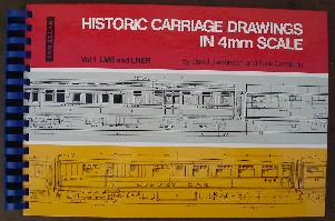 Jenkinson, David & Campling, Nicholas. 'Historic Carriage Drawings in 44mm Scale: Vol 1. LMS and LNER. Condition: Good, but plastic comb is badly broken and there are now only 5 spirals holding the book together.All pages are present, and overall the book is clean, tidy and readable. Price: £27.75, not including post and packing, which is Amazon's standard charge (currently £2.75 for UK buyers, more for overseas customers)