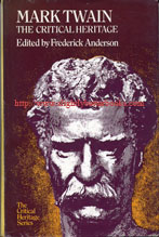 Anderson, Frederick. 'Mark Twain: The Critical Heritage' published in 1971 in Great Britain in hardback with dustjacket, 347pp, ISBN 0710070845. Condition: good condition - ex-library with stamps, embossed library markings & dustjacket protector (dj is not clipped). Some marks and dusty-dirtiness consistent with age. Price: £10.75, not including p&p, which is Amazon's standard charge (currently £2.75 for UK customers, more for overseas customers)