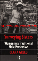Greed, Clara. 'Surveying Sisters: Women in a Traditional Male Profession',  published in 1991 in Great Britain by Routledge, in paperback, 242pp, ISBN 0415044898. Condition: Very good, clean and tidy copy. Price: £6.20, not including post and packing, which is Amazon's standard charge (currently £2.80, not including post and packing)