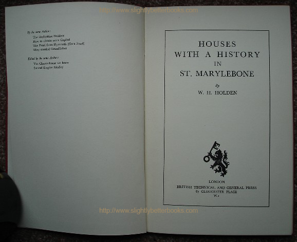 Holden, W. H. 'Houses with A History in St Marylebone', title page