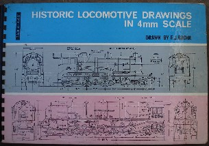 Roche, F.J. 'Historic Locomotive Drawings in 4mm Scale' published in c. 1971 by Ian Allan, 104pp, hardcover, spiral bound binding. Good, clean condition with the odd dirty fingermark/spot. Price £19.99, not including p&p, which is Amazon's standard charge (currently £2.75 for UK buyers and more for overseas customers)